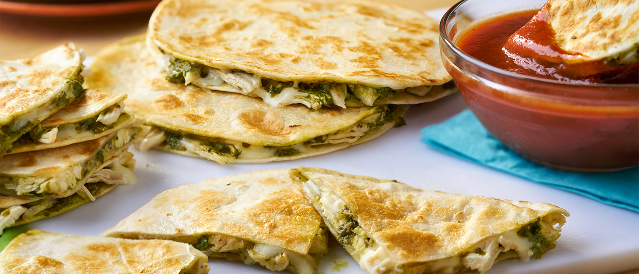 Chicken Pesto Quesadillas