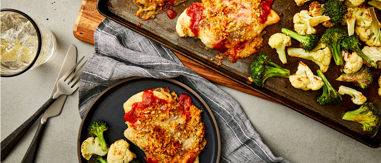 Sheet Pan Chicken Parmesan with Roasted Cauliflower