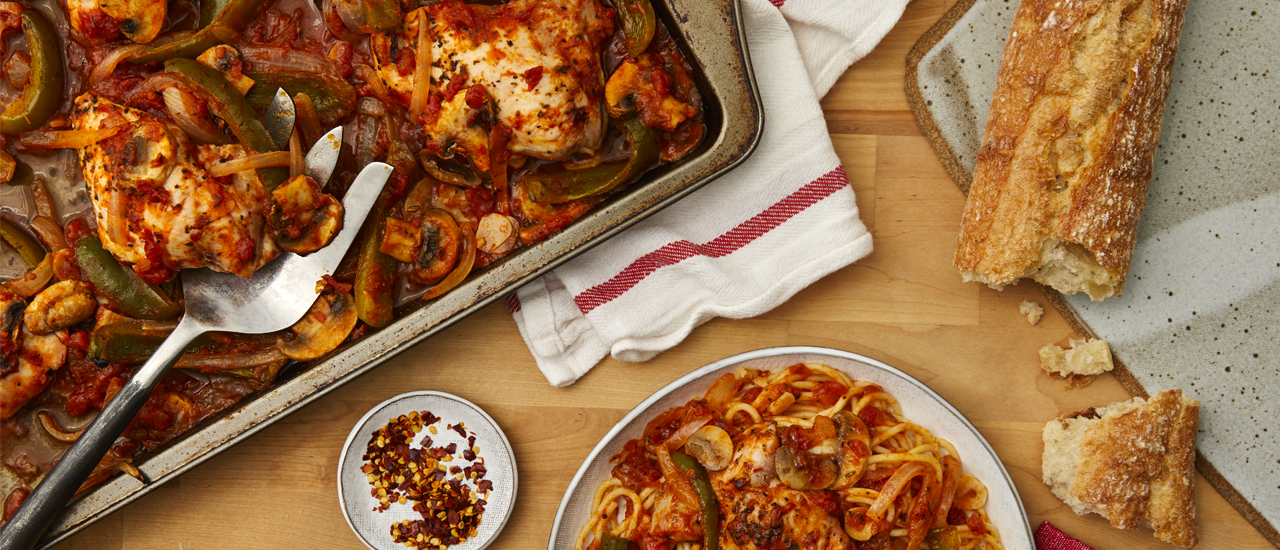 Easy Sheet Pan Chicken Cacciatore