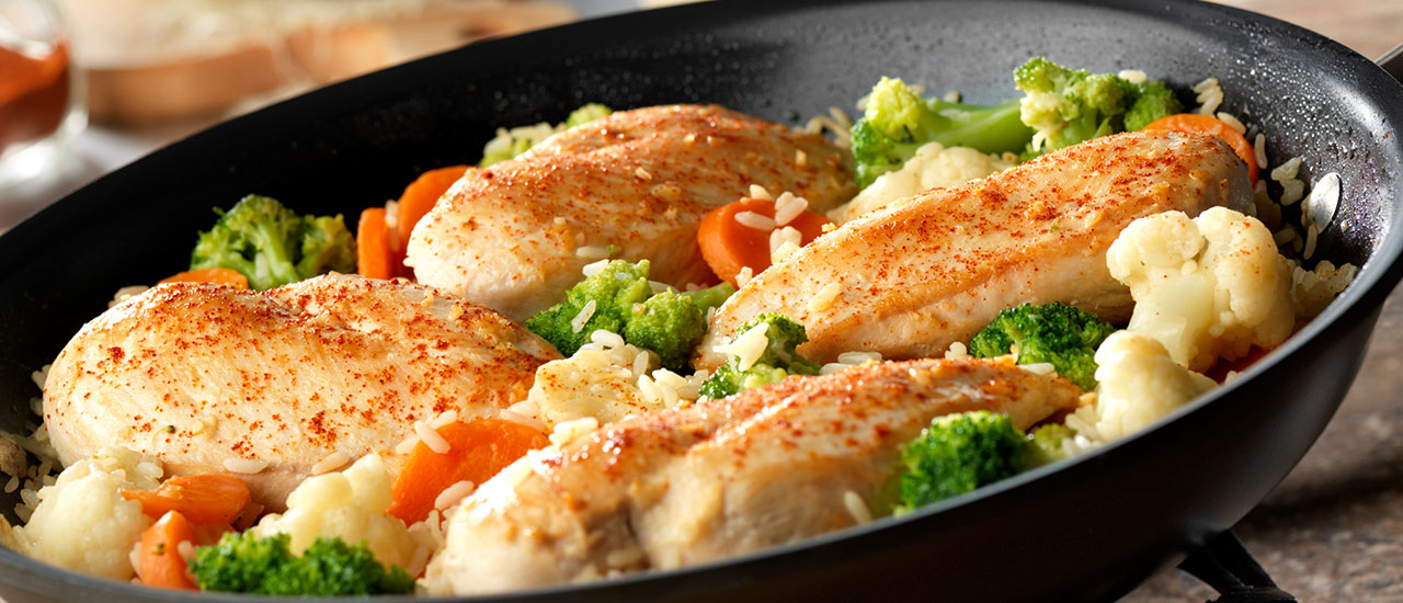 Garlic Chicken, Vegetable & Rice Skillet