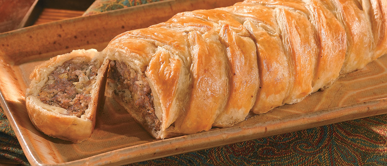 Sausage & Stuffing Criss-Cross Pastry