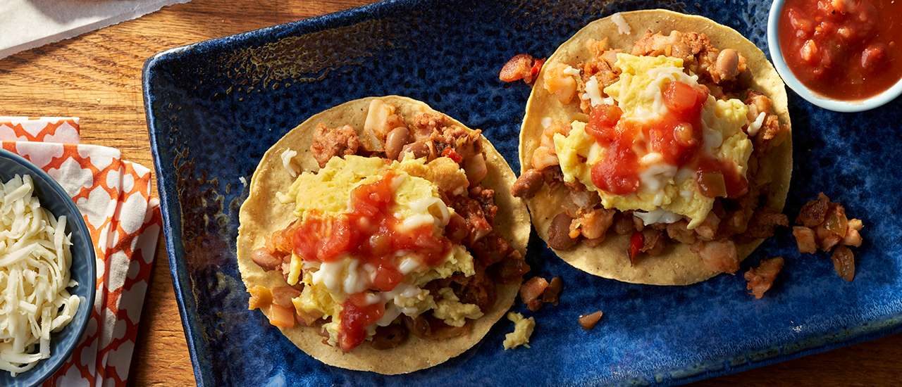 Spicy Sausage and Bean Tostadas