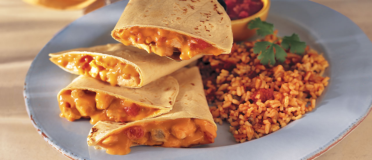Chicken Quesadillas & Fiesta Rice