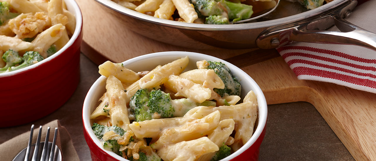 Three-Cheese Penne and Broccoli Skillet