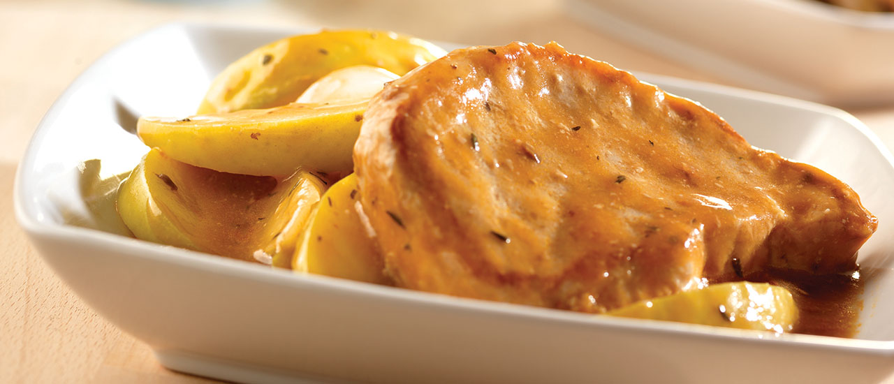 Slow Cooker Golden Mushroom Pork & Apples