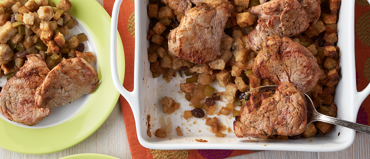 Baked Pork with Apple Raisin Stuffing