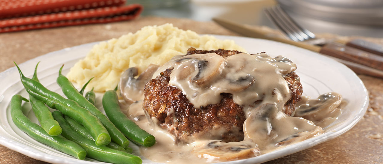 Image result for burger steak with mushroom sauce
