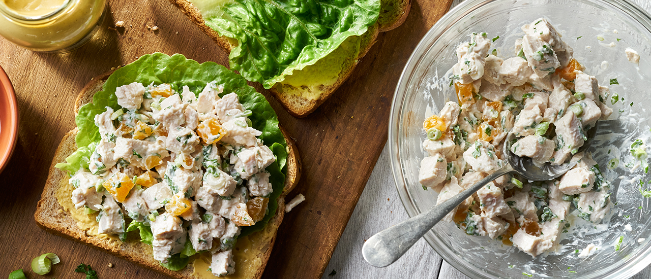 Open-Faced Apricot Chicken Salad Sandwiches