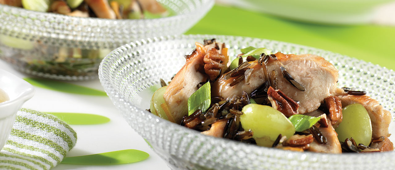 Chicken Salad with Rice, Pecans, Grapes, and Orange Dressing