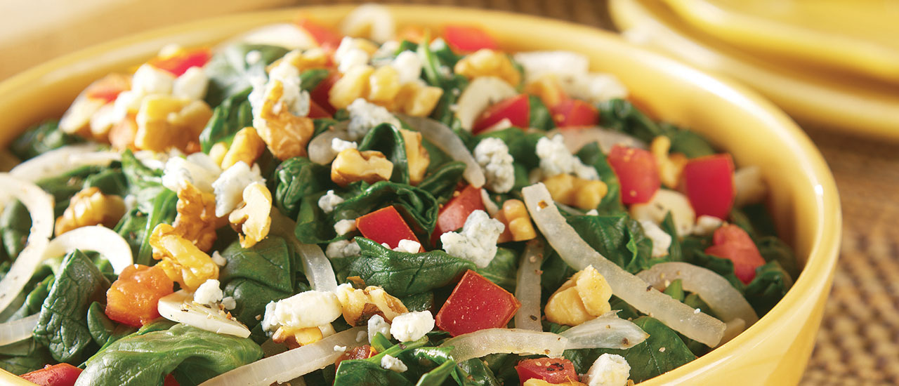 Savory Spinach with Blue Cheese and Walnuts