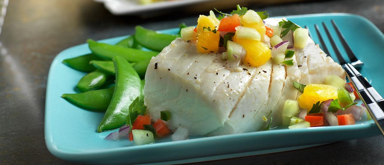 Poached Halibut with Chunky Pineapple Salsa