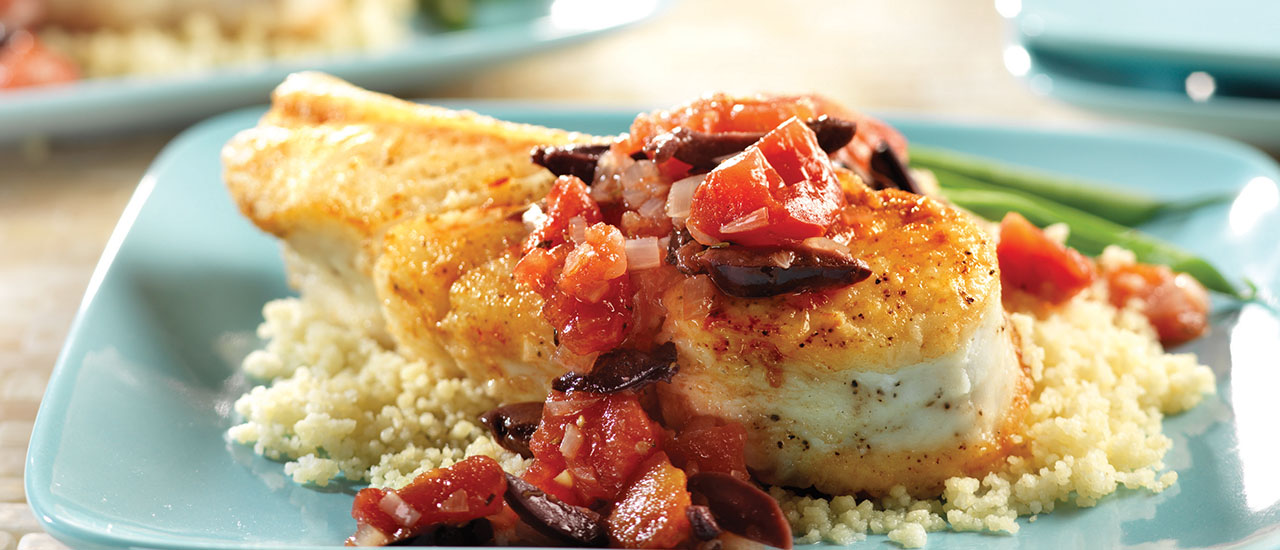 Mediterranean Halibut with Couscous