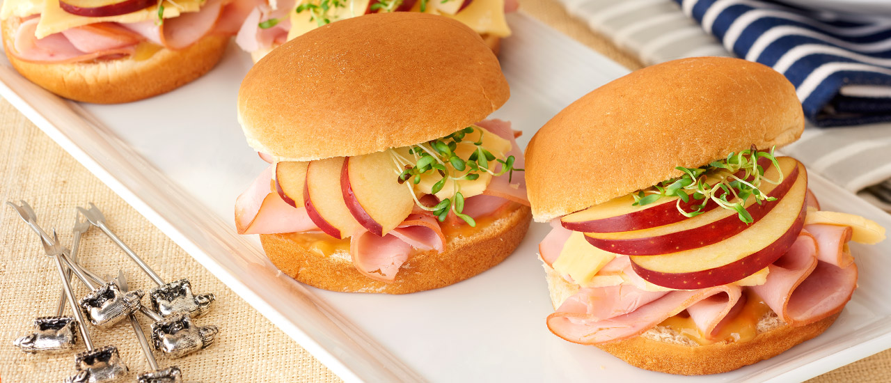Ham, Havarti & Apple Sliders