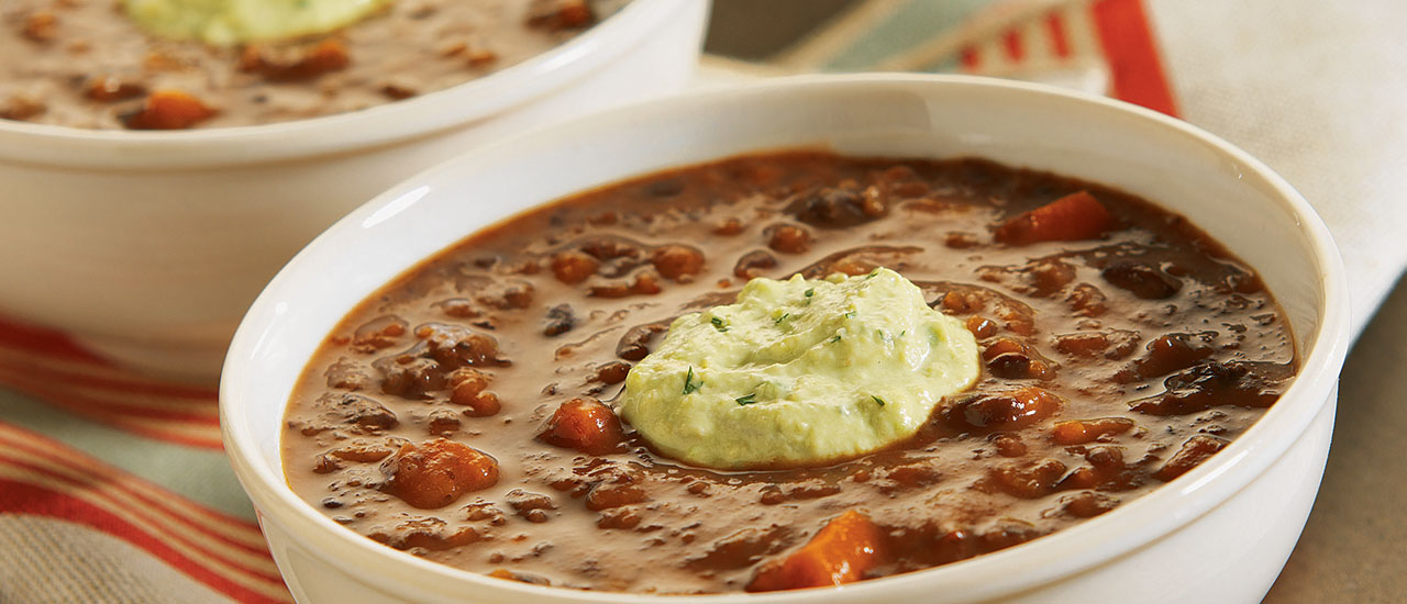 Chipotle Black Bean Soup with Avocado Cream
