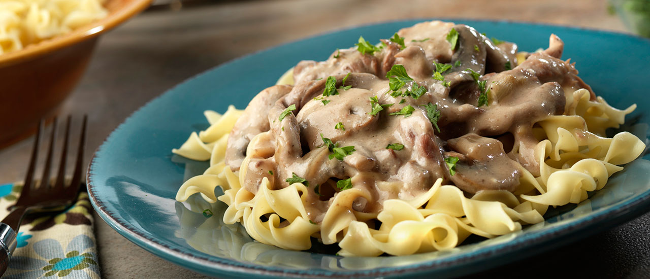 Creamy Slow Cooker Beef Stroganoff Recipe Campbell S Kitchen