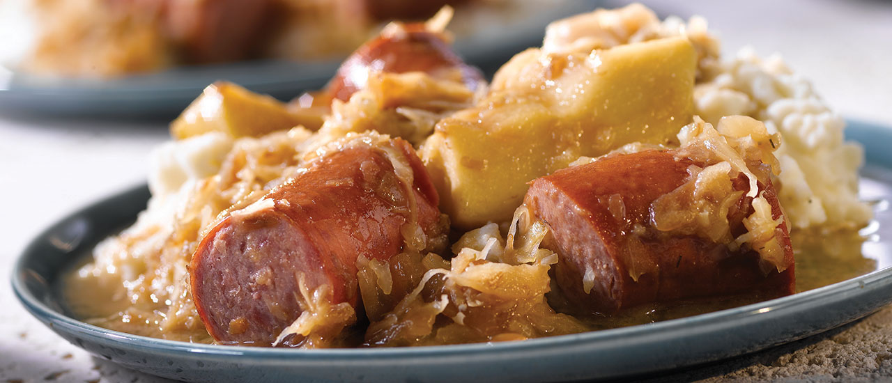 Slow Cooker Kielbasa with Apples, Onions and Sauerkraut