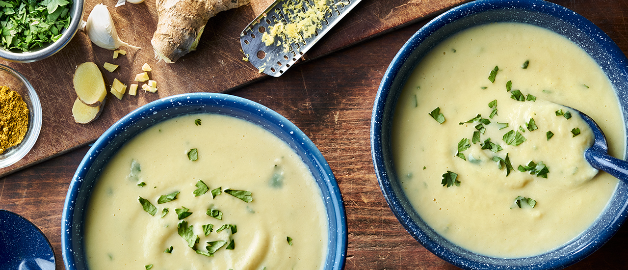 Roasted Cauliflower Soup with Curry and Ginger