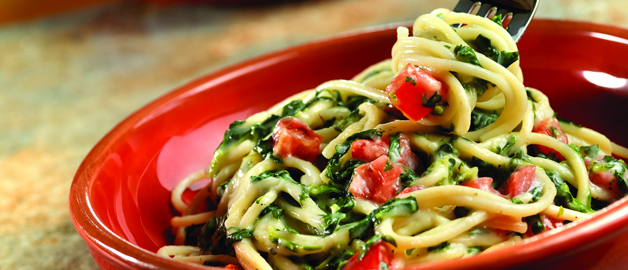 Spaghetti with Parmesan Spinach Sauce