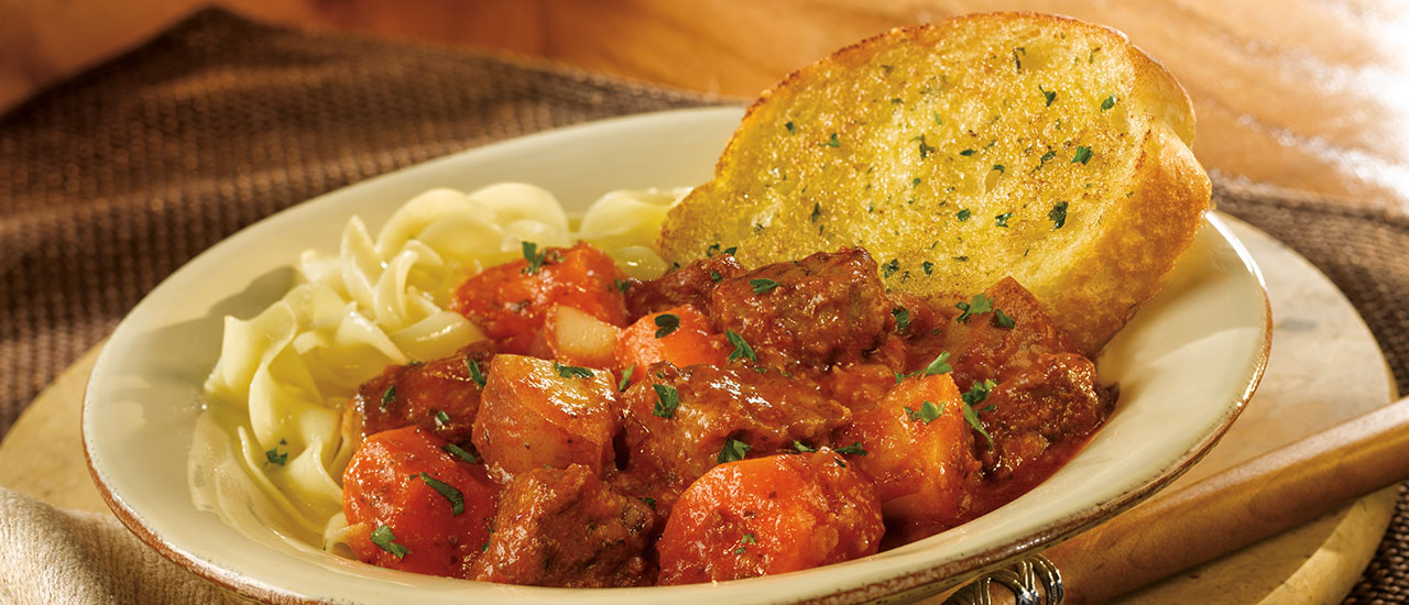 Roasted Garlic Beef Stew with Texas Toast