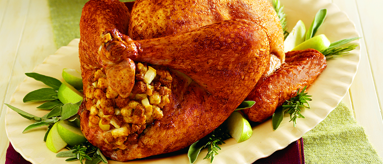 Roasted Dijon & Apple-Glazed Turkey with Fruited Stuffing