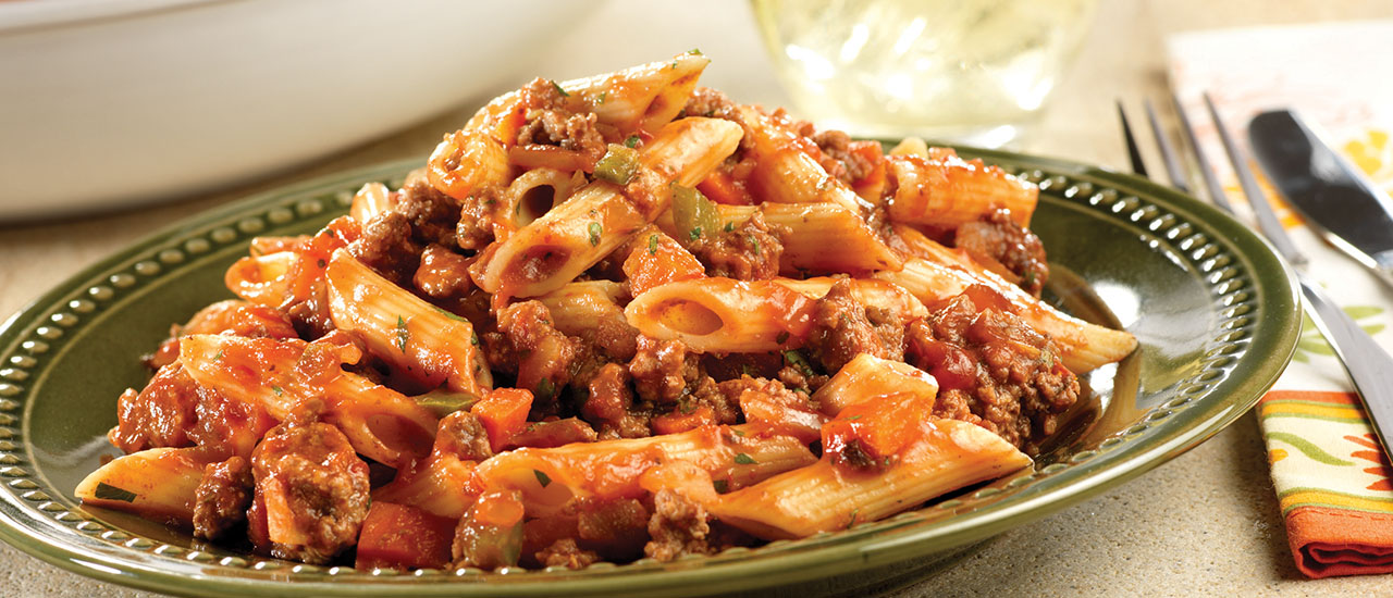 Quick & Spicy Beef with Penne