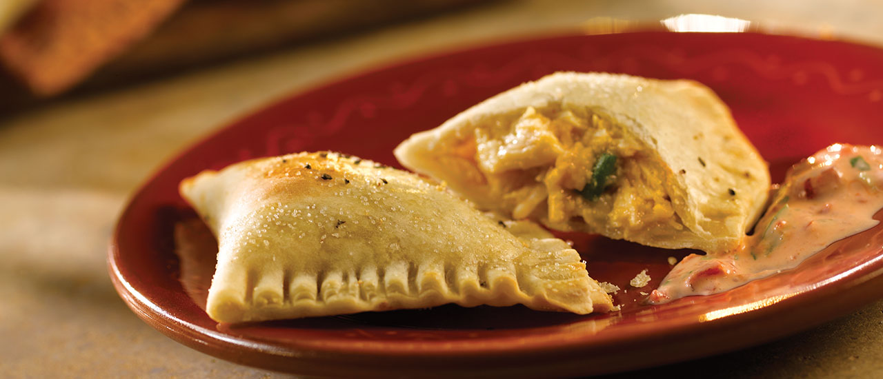 End-Zone Empanadas with Roasted Red Pepper-Poblano Dip