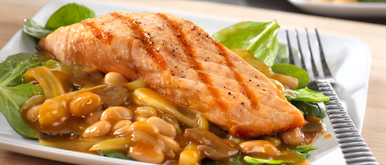 Grilled Salmon over Warm Tuscan Bean Salad