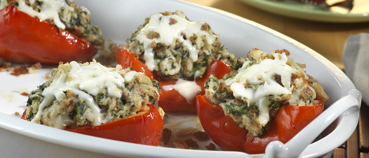 Easy Spinach Stuffed Peppers