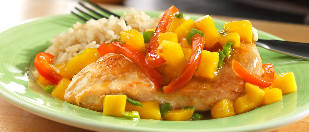 Spicy Glazed Mango Chicken