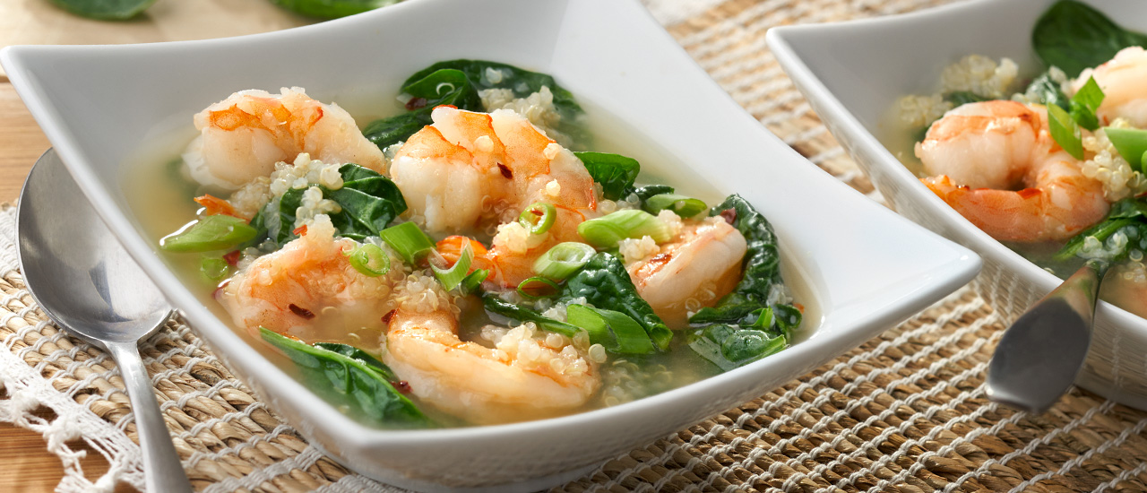 Shrimp Quinoa Broth Bowls