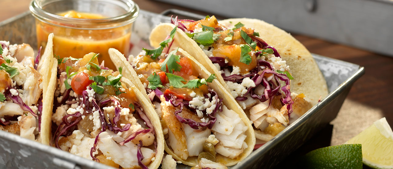 Fish Tacos with Peach Mango Salsa