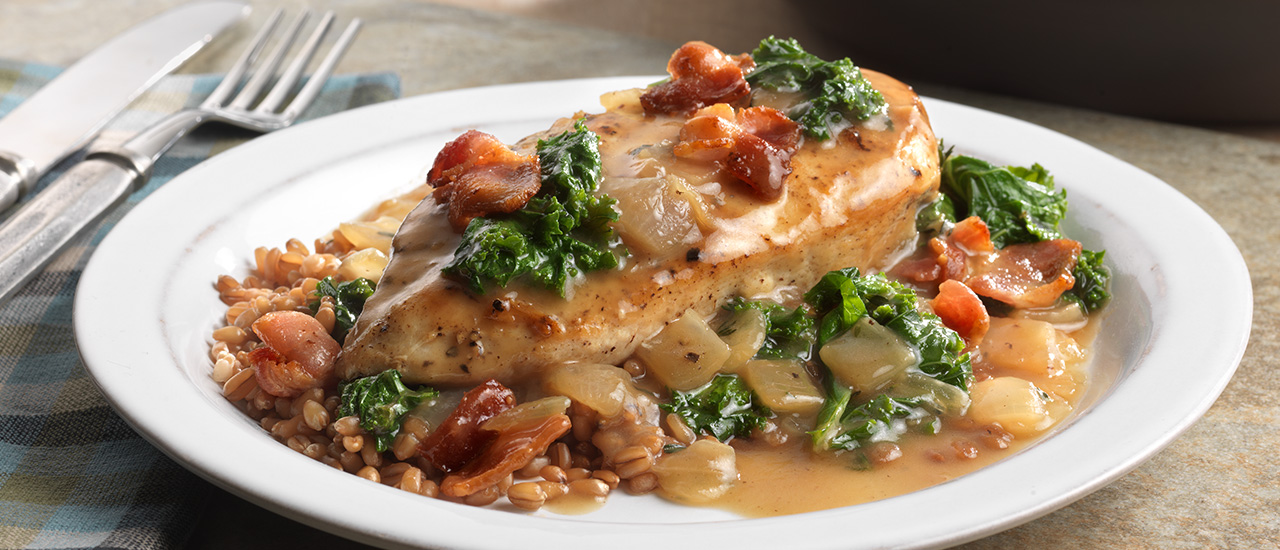Maple Glazed Chicken with Bacon & Kale