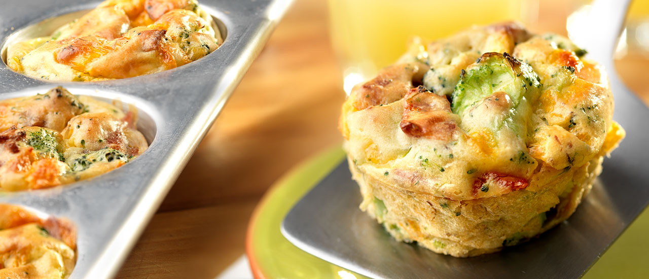 Mini Cheddar, Broccoli & Bacon Quiches