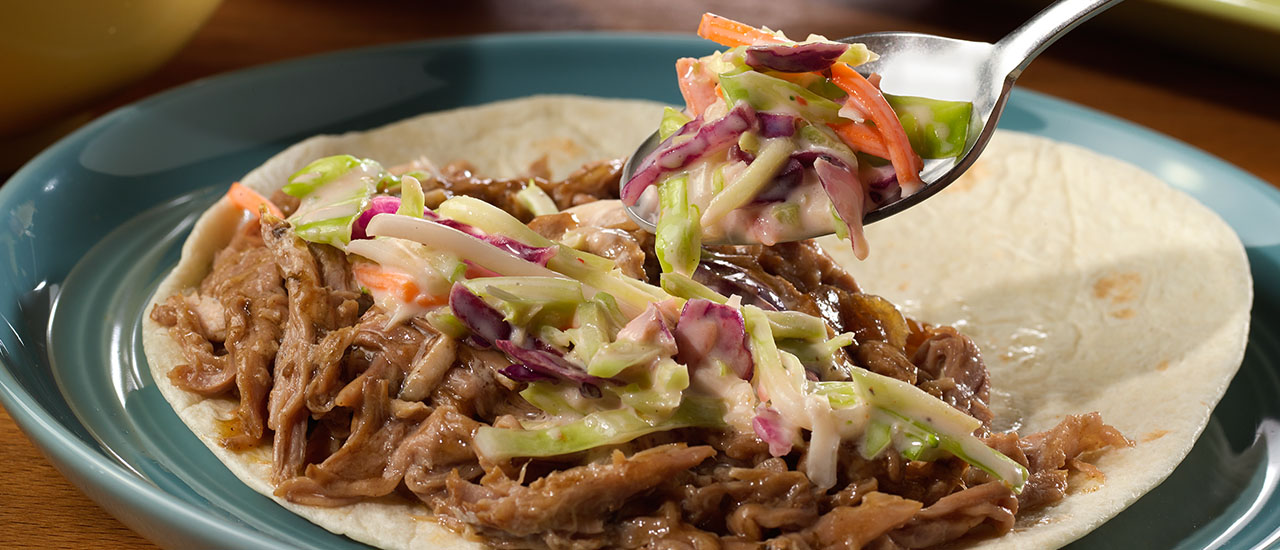 Slow-Cooked Shredded Pork Tacos with Sriracha Slaw