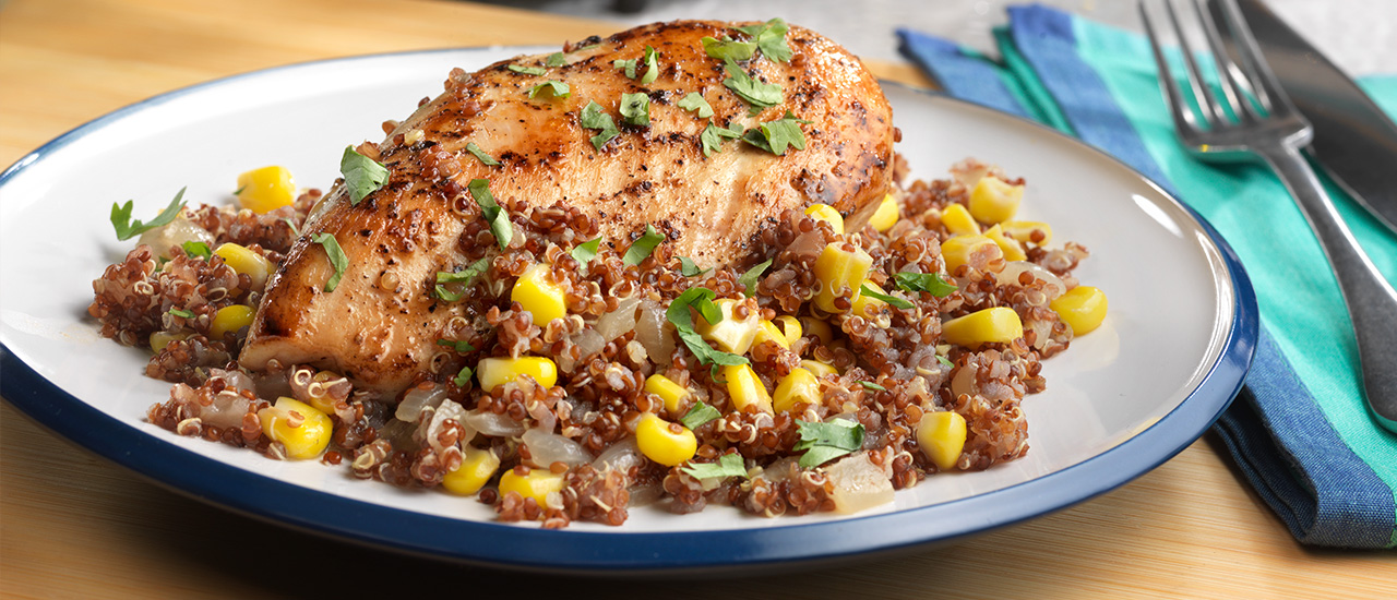 Sautéed Chicken with Citrusy Corn & Quinoa