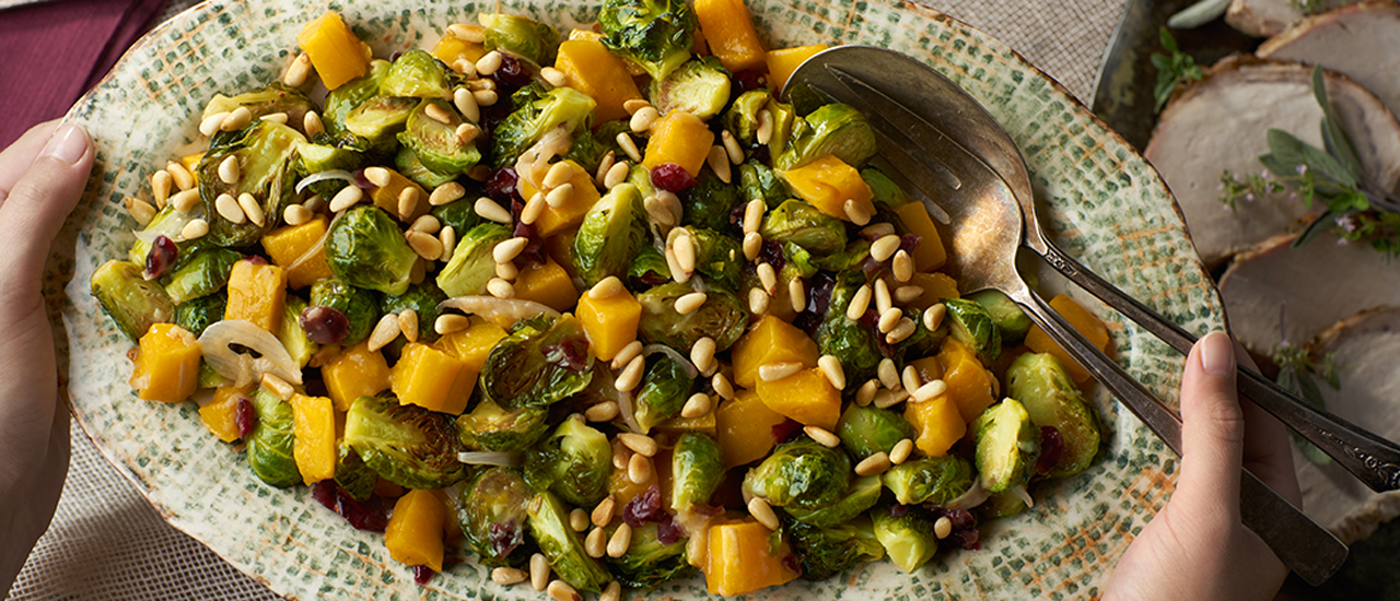 Roasted Brussels Sprouts & Squash with Cranberries & Pine Nuts