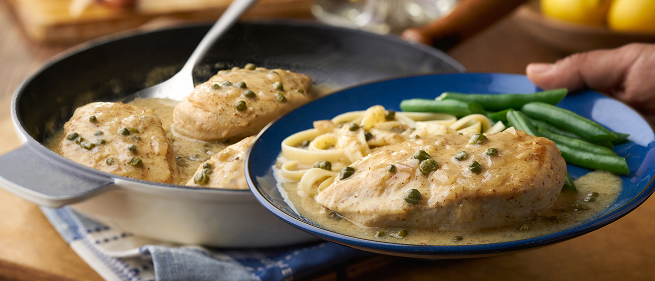 Chicken with Savory Lemon Caper Sauce