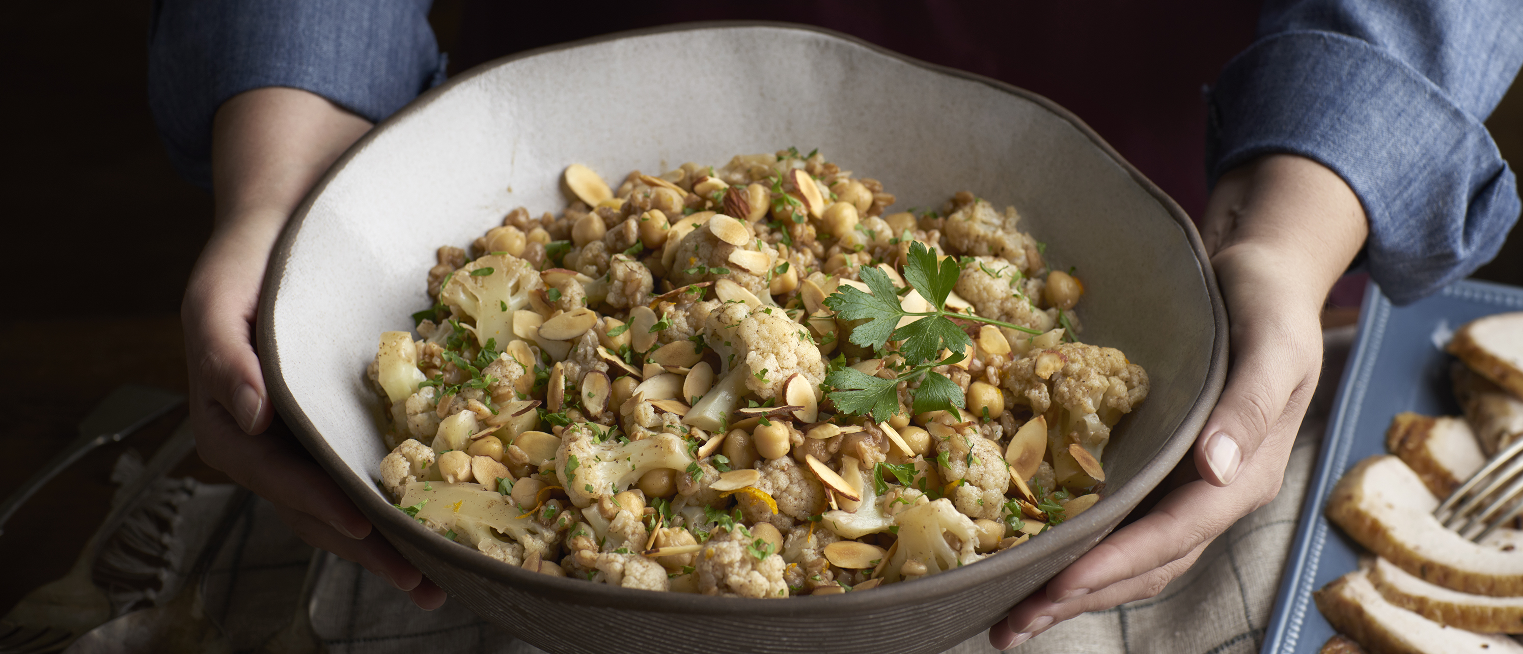 Indian-Spiced Cauliflower with Chickpeas & Farro