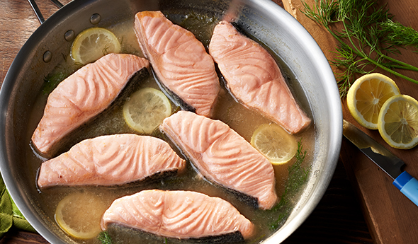 Poached Salmon with Lemon and Dill