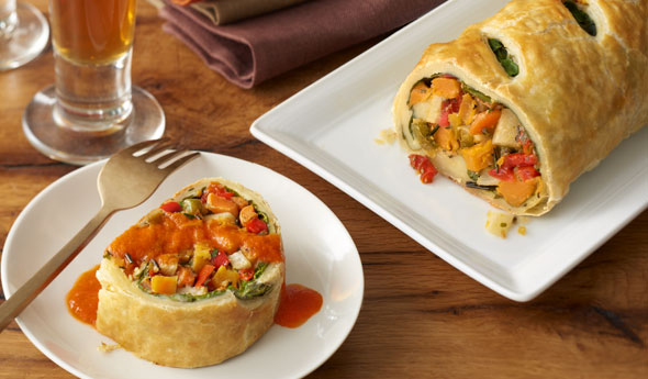 Roasted Vegetable Strudel with Red Pepper Coulis
