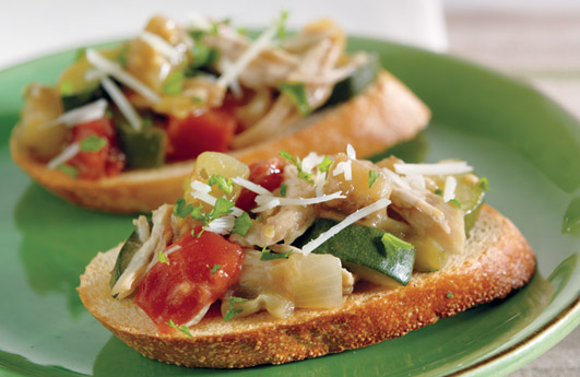Slow Cooked Chicken & Vegetable Bruschetta Topping