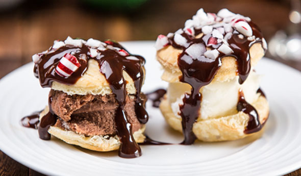 Holiday Chocolate Mint Profiteroles