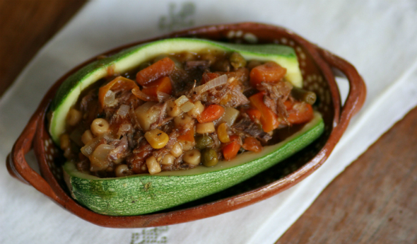 Calabacita Squash Stuffed with Carne Guisada