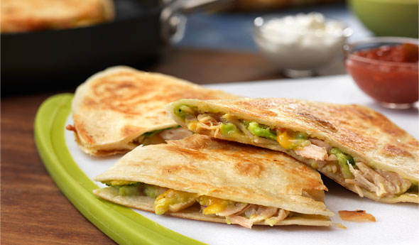 Turkey, Guacamole & Cheese Quesadillas