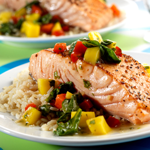 Pan-Seared Salmon in Peach Mango Sauce